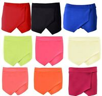 NEW WOMENS WRAP OVER LOOK MINI SKIRT SHORTS SKORTS LADIES HOT PANTS SIZE 8-14