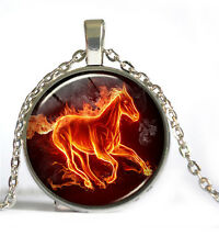 Vintage Horse Cabochon Silver plated Glass Chain Pendant Necklace #D106