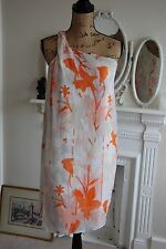 DIANE VON FURSTENBERG White Ivory Orange Silk Floral One Shoulder Dress 6 8 XS