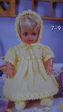 PREMATURE BABY/DOLLS CLOTHES~DRESS~ BONNET~BOOTEES~ DK KNITTING PATTERN (DOLL 8)
