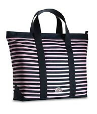 Lacoste Ladies Bag Tote Anthracite Pink Stripe