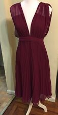 ASOS Pleated Front Pink Purple Draped Dress Lined Side Zip Size 4 EUC