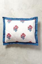 NEW ANTHROPOLOGIE Set of two Standard Queen Zocalo Embroidered Shams Blue NWT