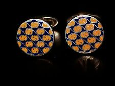 "AUTHENTIC RETIRED "" GUCCI "" STERLING SILVER 925 G LOGO ENAMEL CUFFLINKS ITALY"