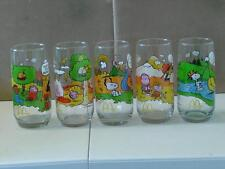 Vintage McDonalds Camp Snoopy Glasses Collection Complete Set of 5 Peanuts NOS