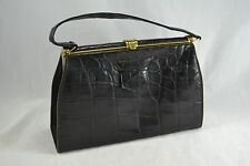 VINTAGE 1950s black crocodile skin leather kelly bag suede lined