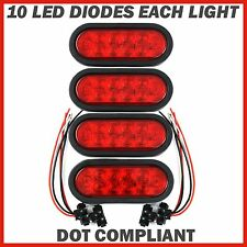 """4 Trailer Truck Lights LED Sealed RED 6"""" Oval Stop Turn Tail Marine Waterproof"""