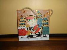Santa Claus Christmas Decoration Holiday Wall Hanging Wood Rooftop Scene Winter