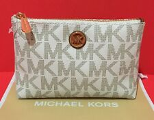 New Authentic Michael Kors Signature PVC Fulton Travel Case Cosmetic Bag Vanilla