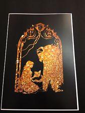A4 LA BELLA E LA BESTIA incantato Rose Gold Glitter Effetto art print poster