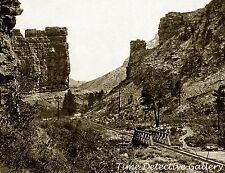 Railroad Through Castle Gate, Price Canyon, Utah - 1898 - Historic Photo Print