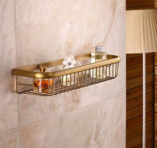 Antique Brass Wall Mount Bath Caddy Sotrage Holder Shelf