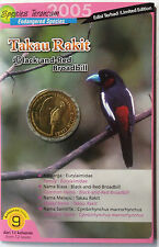 Malaysia Coin Card - Endangered Birds Series No. 9 Black-and-Red Broadbill