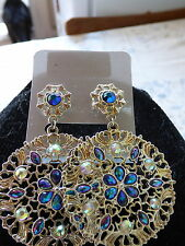 Gold Coloured Large Circular Earrings With Blue/Green And Clotured Stones New