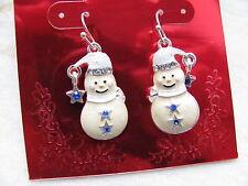Festivo muñeco de nieve pendientes,lleva puesto navidad gorro con un colgante