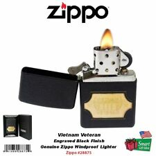 Zippo Vietnam Veteran Lighter, Engraved Black Crackle, Windproof #28875