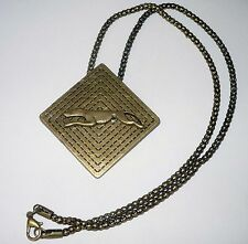 Antique Bronze Rhombus Pendant Necklace with Running Greyhound or Whippet