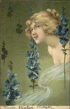 Art Nouveau - Beautiful Blond Woman Semi-Nude c1905 Postcard