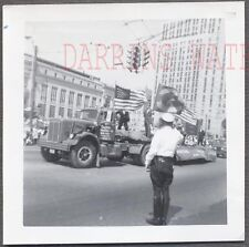 Vintage Photo 1958 Peterbilt Truck Parade Float w/ Amercan Flags 745526
