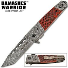 Bone Handle Damascus Warrior Tanto Pocket Knife Assisted Opening Knives