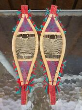 "RARE Vintage Miniature Snowshoes Made Huron Indians 13"" Long by 4"" Wide OJIBWA"