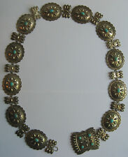 BEAUTIFUL VINTAGE NAVAJO INDIAN STERLING SILVER & TURQUOISE CONCHO WOMEN'S BELT