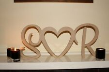 Personalised custom wedding initials heart love freestanding wooden letters sign