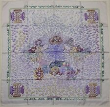 "Auth HERMES ""Rencontre Oceane"" by Annie Faivre Ivory Silk Scarf 0201"