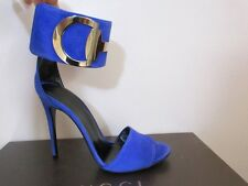 Gucci Rooney Deep Zaffiro Suede Sandals Dressy High Ankle Strap $850 37 7