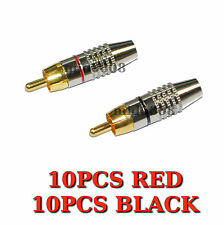 20pcs RCA Male Plug Solder Free Gold Audio Video Locking Cable Adapter Connector