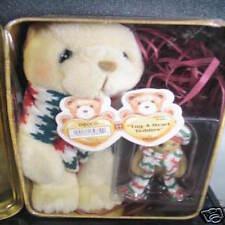 Cherished Teddies 2Pc PLUSH BEAR & TUG A HEART BEAR  FIGURINE Tug A Heart