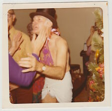 Square Vintage 70s PHOTO Man In Diaper Dressed As New Year's Baby
