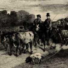 Gustave Courbet Le retour du Marché Vache Chevaux - Eau Forte Mordant XIXeme