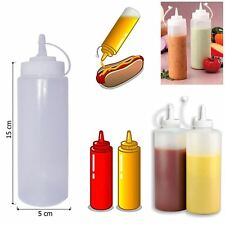 6x 8 Oz Plastic Squeeze Sauce Ketchup Mustard Clear Bottle Oil Dressing Barbecue