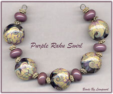 Purple Raku Lentils Lampwork Beads Glass Bead Set With Spacers SRA