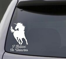 I BELIEVE IN UNICORNS Vinyl Decal Sticker Window Bumper Wall Horse Funny White