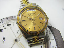 VINTAGE WEST END WATCH CO SOWAN PRIMA AUTOMATIC DAY DATE MEN'S 2 TONE.