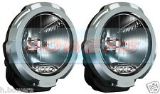 "PAIR OF SIM 12V/24V 7"" INCH CHROME ROUND HALOGEN SPOT/DRIVING LAMPS/LIGHTS + LED"