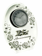 SILVER WEDDING ANNIVERSARY GIFT OVAL MIRROR 25TH CLOCK 17850