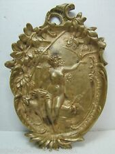 Antique Art Nouveau Nude Maiden Trinket Tray bird in hand doe high releif beauty