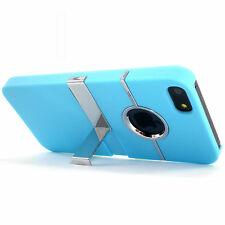 Deluxe Light Blue Hard Case Cover With Chrome Stand for Apple iPhone 5 5S SE NEW