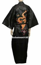 Black Embroidered DRAGON Design Handmade Silk Satin Long Kimono Robe w Waist Tie