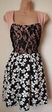 DUSTY PINK LACE DAISY PRINT FLORAL SKATER RARE VTG DOLLY BLOCK VTG DRESS 14 L