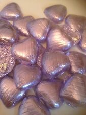 50 Violet wrapped solid belgian chocolate hearts/wedding favours/sweets