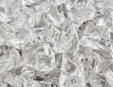 """10 Lbs of Fire Glass 1/2""""-3/4"""" Crushed Ice Clear Fireglass for Fireplace"""