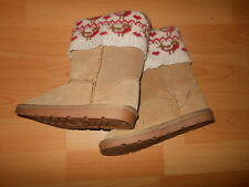 Next Girls Brown Suede Pull On Boots with a Knit Pattern UK Kids Size 11 BNWT