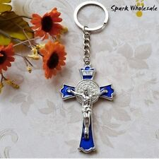 * CHRISTIAN CROSS CRUCIFIX JESUS * SPLIT RING KEY CHAIN Keyring (Silver & Blue)