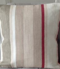 "14"" cushion cover Laura Ashley Awning stripe Lichen/raspberry/Austen Natural"