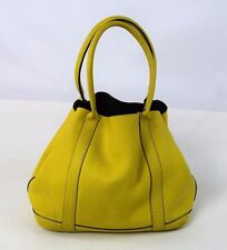 J.CREW Borge Garveri Neon Yellow Pebbled Leather Uptown Hand Bag Purse Tote L