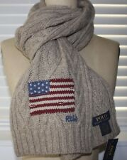 NWT POLO RALPH LAUREN Men's Oatmeal FLAG Lambswool Cable Knit Scarf 66x8